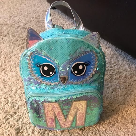 "Justice Mermaid MINI Backpack Rucksack Flip Sequin Initial "" M "" Brand New"
